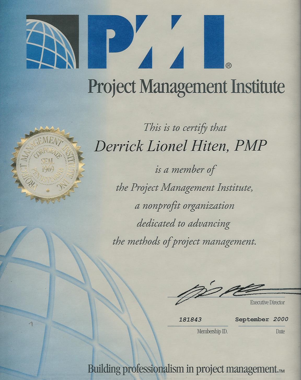pmi certification essay Free essay: solutions to accompany information technology project management, sixth edition isbn-10: 0324786921 isbn-13: 9780324786927 course technology mis.